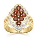 Garnet & Cubic Zirconia Cluster Ring
