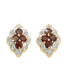 Garnet & Cubic Zirconia Cluster Earrings