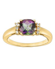 Gold-Plated Mystic Topaz Ring