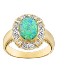 Gold-Plated Opal & Cubic Zirconia Ring