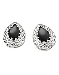 Silver-Plated Onyx Earrings