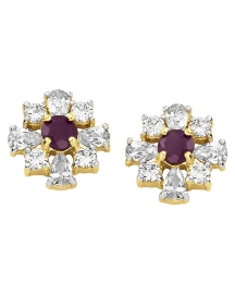 Ruby & Cubic Zirconia Earrings