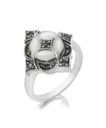 Silver-Plated Pearl & Marcasite Ring