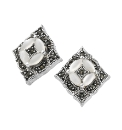 Silver-Plated Pearl & Marcasite Earrings