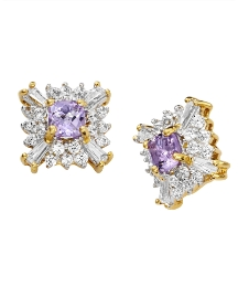 Amethyst & Cubic Zirconia Earrings