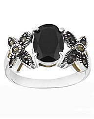 Silver-Plated Onyx & Marcasite Ring