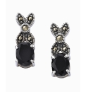 Silver-Plated Onyx & Marcasite Earrings