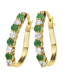 Gold-Plated Emerald Earrings
