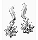 Silver-Plated Diamond Cluster Earrings