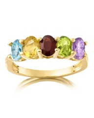 Gold-Plated Multi Gemstone Ring