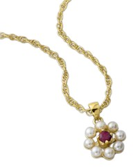 Gold-Plated Ruby & Pearl Cluster Pendant