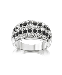 Silver-Plated Black Crystal Ring