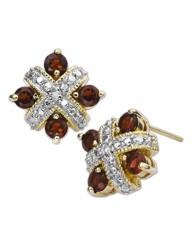 Garnet & Diamond Accent Earrings