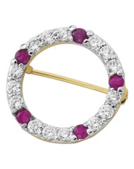 Ruby & Cubic Zirconia Circle Pin Brooch