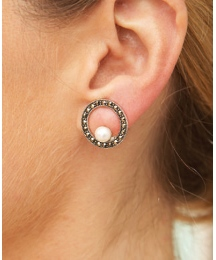 Silver Marcasite & Pearl Clip Earrings