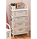 Wicker 4 Drawer Tall Boy