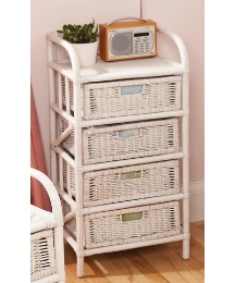 White Wicker Drawer Units 4 Drawer