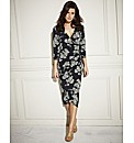 Print Mock Wrap Dress Length 41in