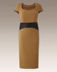 MAGISCULPT Leather Trim Dress 45in