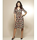 Print Mock Wrap Dress 41in
