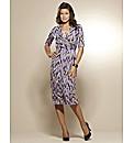 Print Mock Wrap Dress 41in