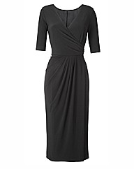 Plain Mock Wrap Midi Dress 45in