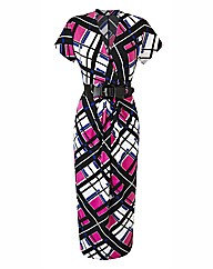 Print Midi Dress with Belt Length 45in