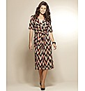 Print Mock Wrap Midi Dress 45in