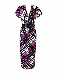 Petite Print Dress with Belt Length 38in