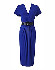Petite Plain Dress with Belt Length 38in