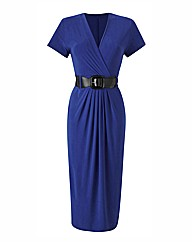 Plain Midi Dress with Belt Length 45in