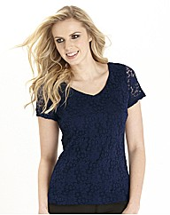 Stretch Lace Jersey Top 25in