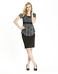 Lace Print Peplum Dress 41in