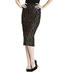 Ponte Lace Print Pencil Skirt 25in