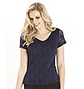 Stretch Lace Jersey Top 28in