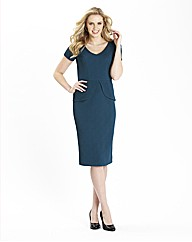 Petite Textured Peplum Dress 39in