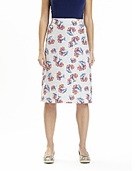 Petite Print Linen Mix A-Line Skirt 23in