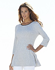 Fit And Flare Jersey Tunic With PU Trim