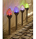 Set of Four Crackle Flame Stake Lights