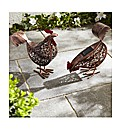 Metal Hen Set of Two