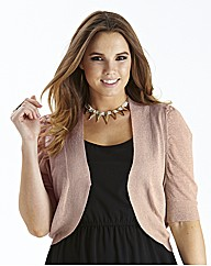 Short Sleeve Shrug Cardigan - Dusky Pink