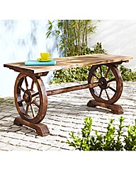 Cartwheel Wooden Garden Table
