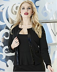 Collarless Sequin Trim Jacket