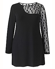 Layered Spot Mesh Patterned Top
