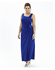 Jewel Side Ruched Maxi Dress