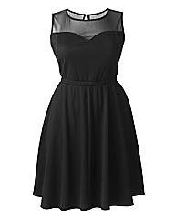 Petite Mesh Top Skater Dress