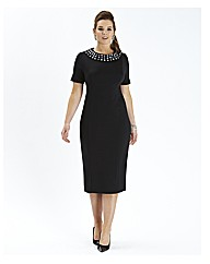 Beaded Collar Fitted Dress