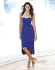Strapless Knot Front High Low Hem Dress