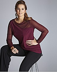 Asymmetric Jersey Top With Mesh Sleeves
