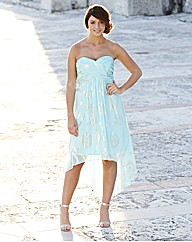 Strapless High Low Hem Dress
